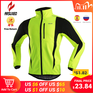 Image 1 - ARSUXEO Winter Warm Up Thermal Fleece Cycling Jacket Bicycle MTB Road Bike Clothing Windproof Waterproof Long Jersey Jersey