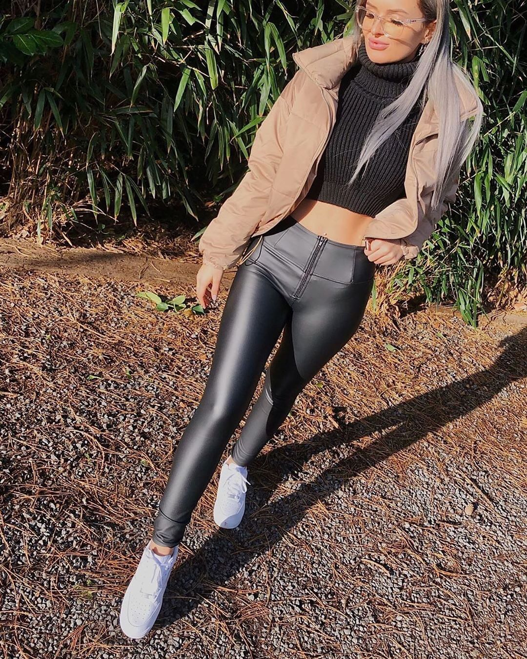 Melody Four Ways Stretchable Black Leather Leggings Winter Warm Fleece Lining Faux Leather High Waisted Leggins For Women 2020