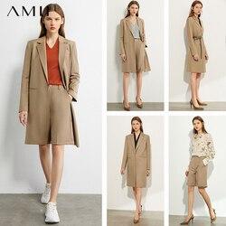 Amii Minimalisme Herfst Vrouwen Pak Set Solid Revers Single-Breasted Lange Pak Jas Hoge Taille Knielange Shorts 12030278