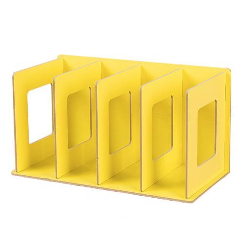 Простая многоярусная книжная полка 4 сетки оригинальная полка для хранения книжные мелочи DIY деревянный шкаф настольная подставка для книг домашняя детская книга - Цвет: Цвет: желтый