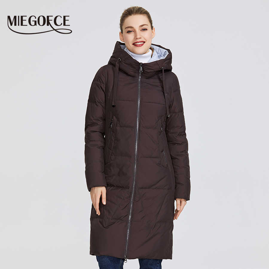 MIEGOFCE 2019 New Winter Women's Collection of Jacket Medium Length Warm Coat With Hood European Style Outdoors Gives Warm Parka