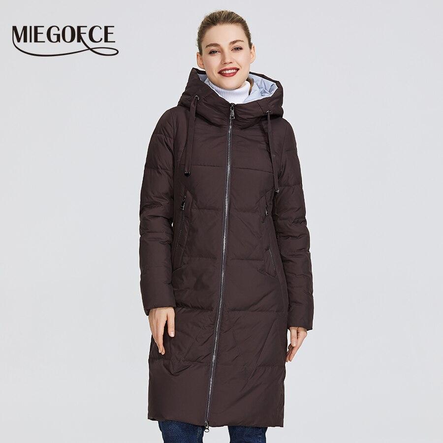 Miegofce 2019 신형 겨울 여성용 자켓 중형 웜 코트 (후드 포함) 유럽 스타일 야외에서 따뜻한 파카 제공-에서파카부터 여성 의류 의  그룹 1