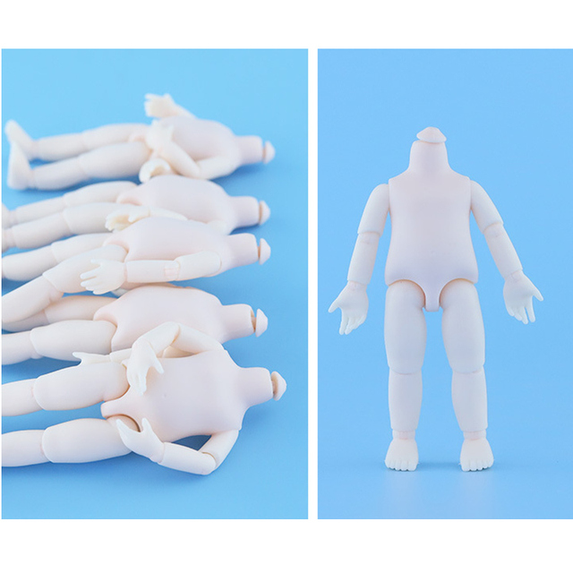 5pcs/lot 16 Cm Doll Body 40 Degrees Rotate Neck Ob11 White Skin 13 Joint Moveable BJD 1/8 Naked Baby Doll Accessories