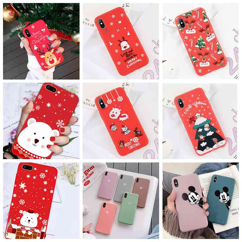 Phone Case For Iphone 6 6s 7 8 Matte Silicon Soft Cute Love Heart Couple Christmas Deer Cover For Iphone 7 8 Plus X Xs Max Xr