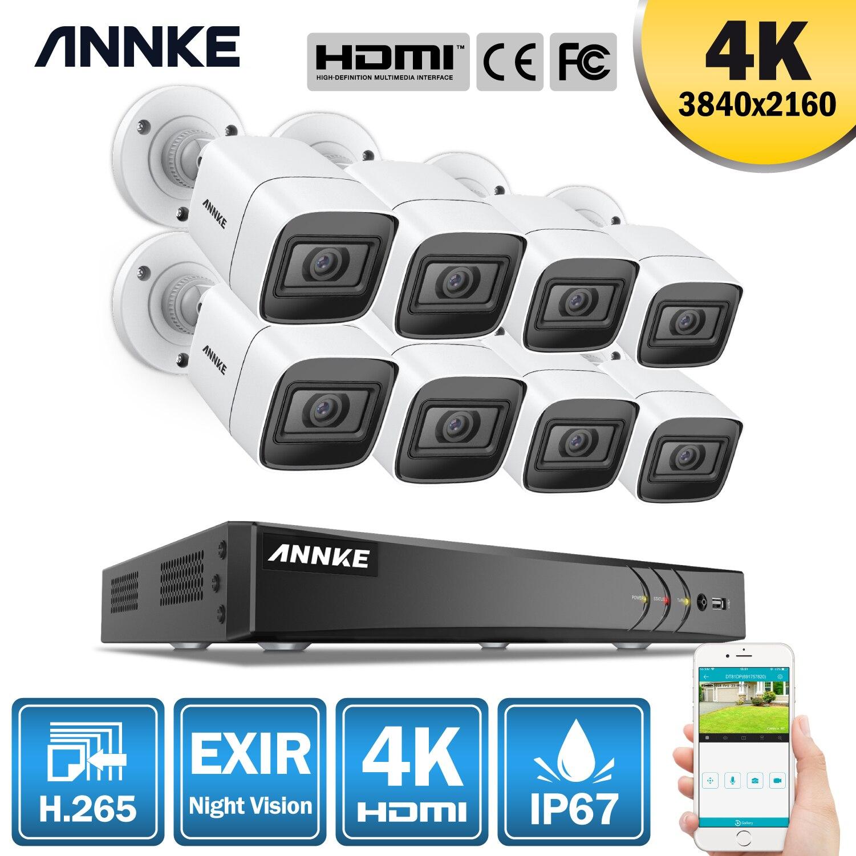 ANNKE 4K HD Ultra claro sistema de seguridad de vídeo de 8 canales H.265 + DVR con 8 Uds. IR De 8MP, Kit de cámara de vigilancia CCTV impermeable para exteriores ANRAN AHD CCTV sistema 2MP DVR Sistema de videovigilancia, cámara de seguridad exterior HDD impermeable visión nocturna P2P HDMI