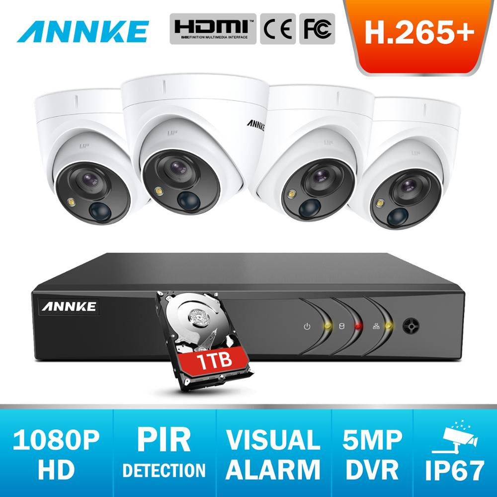 ANNKE 8CH 5MP Lite 5-in-1 CCTV DVR HD 4PCS TVI Sicherheit Kamera PIR Erkennung Outdoor dome Kamera Home Video Überwachung Kit