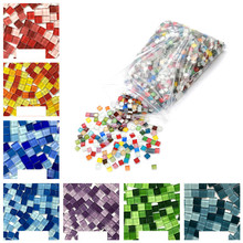 100pcs/lot Crystal Glass Mosaic Tile Handmade Creative Material For Kids DIY Craft Suppies Mixed Color Mini Mosaic Tile 100g/lot