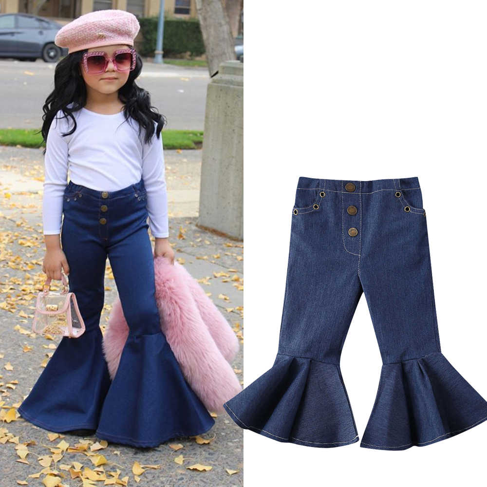 Waterluo Cute Cool Toddler Kids Baby Girls Bell-Bottoms Pants Denim Wide Leg Jeans Trousers 2-7Y