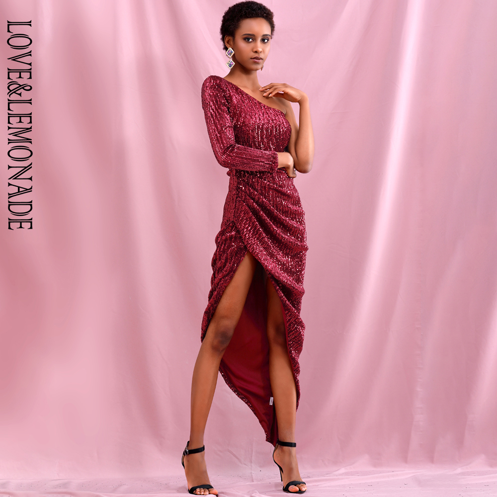 LOVE & LEMONADE Sexy Deep Red Off Shoulder Single Sleeve Split Elastic Sequin Bodycon Party Dress LM81980 image