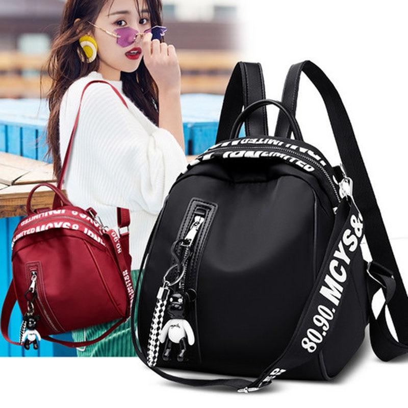 Fashion Women Solid Oxford Cloth Waterproof Backpack College Wind School Bag Portable Travel Big Capacity Shoulder Bag