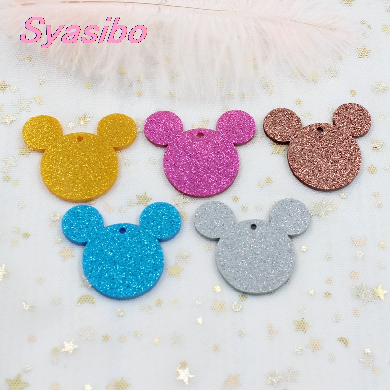 30mm/38mm/50mm/76mm Acrylic Mouse Head Earrings Pink Blue Glitter Male Mouse Keychains Laser -AC1058