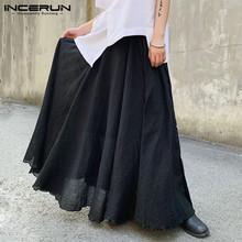 Moda męska spódnice Streetwear jednokolorowe w pasie w stylu koreańskim męskie spódnice spódnice luźny szykowny spódnice Baggy S-5XL INCERUN 7 tanie tanio Szerokie spodnie nogi CN (pochodzenie) Mieszkanie Rayon NYLON NONE Luźne Men Fashion Solid Color Skirts Na co dzień Midweight