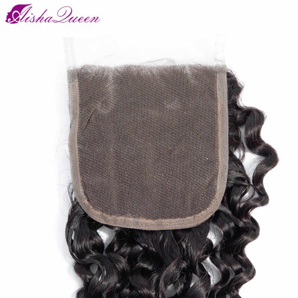 Aisha queen hair Onda Profonda Chiusura Capelli Non Remy Dei Capelli Umani Svizzero Veletta nella chiusura Brasiliana Chiusura Dei Capelli Umani di Trasporto libero