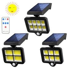 Solar Panel COB Wall Lamp PIR Motion Sensor Garden Security Light 18650  Rotatable Street Light 140LED Garage light 3Modes
