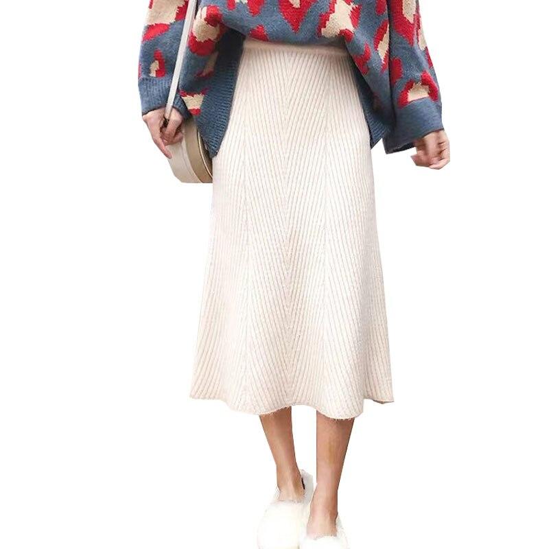 2019 High Waist Women Knitted A-Line Long Skirts Vintage Autumn Winter Thick Women Midi Skirt Faldas Jupe Femme Saia