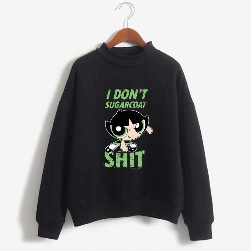 Kawaii Powerpuff  Sweatshirt  Fashion Women's Clothing Cute Cartoon Sweatshirt  Blossom Bubbles Buttercup Anime Girls Gift
