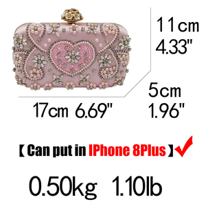 Image 5 - Boutique De FGG Vintage Pink Beaded Clutch Women Evening Bags Heart & Flower Wedding Crystal Clutches Handbags Bridal Purses