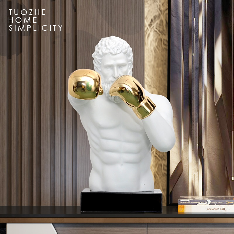 European Retro Boxing Bust Art Sculpture Gymnastics Boxer Figures Figurines Resin Crafts TV Cabinet Decorations For Home R3977 image