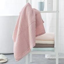 Waffle pure cotton plain gauze bath towel for adult women couples family soft absorbent bath towel for men and women