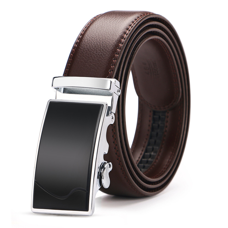 140 150cm Big Size Automatic Buckle Belt For Men High Quality Men's Genuine Leather Business Belts Brand Designer Luxury Brown