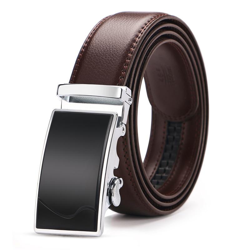 140 150cm Big Size Automatic Buckle Belt For Men High Quality Men's Genuine Leather Business Belts Brand Designer Luxury Brown