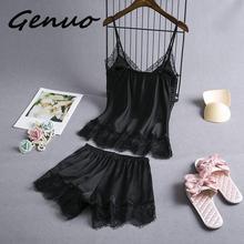 Genuo New 2019 Sleep Lounge Pajamas Set Sexy Satin Sleepwear
