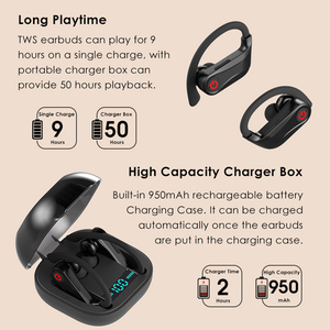 Image 5 - Q62 TWS אלחוטי אוזניות Bluetooth 5.0 סטריאו ספורט נפח שליטה מקרה עמיד למים אוזן וו אוזניות מיקרופון
