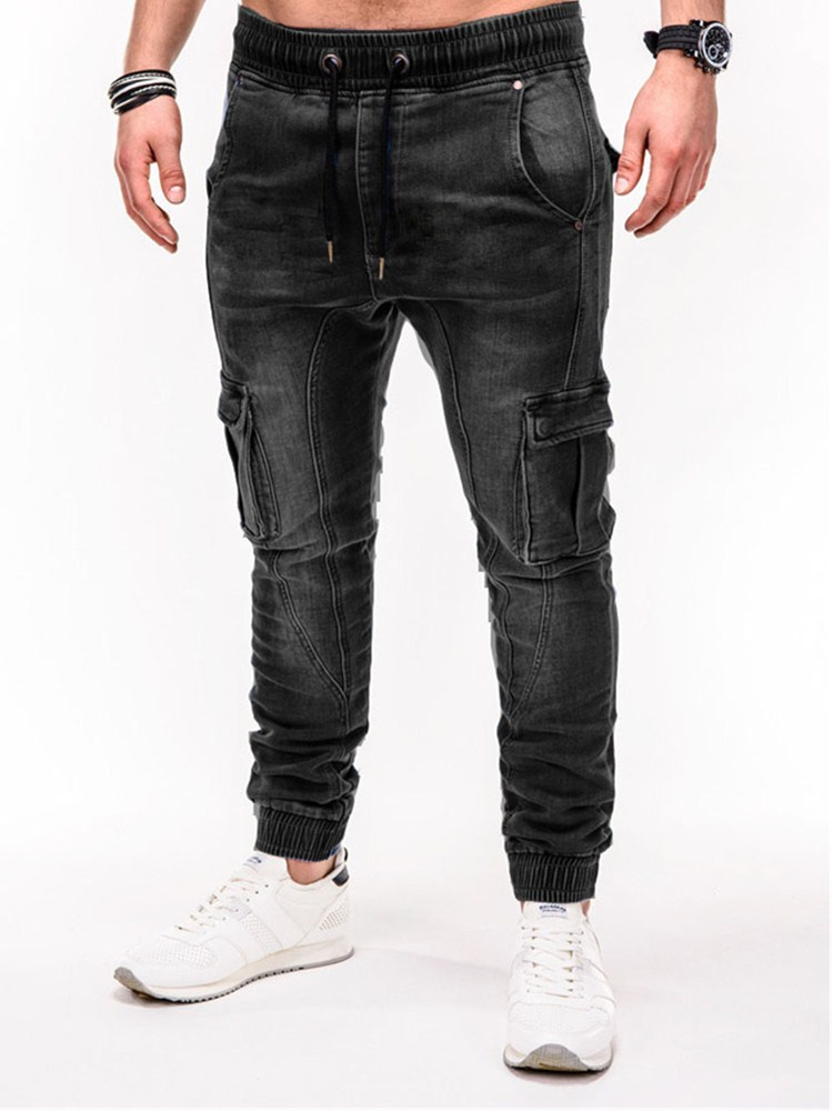 2020 Mens Cool Designer Brand Black Jeans Skinny Zipper More Pocket Jeans Men's Jeans Smart Casual Jeans Cargo Pants
