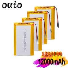 Baterias recarregáveis da substituição da bateria do li-polímero do pwb para o dvd da tabuleta 3.7v 12000mah lipo li-po lítio batteria 1260100 com