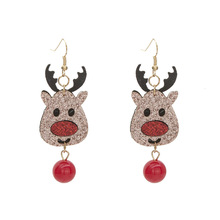 2020 Christmas Earrings Jewelry Originality Elk Santa Claus Cloth Dangle Earrings For Women Charm Xmas Party Statement Earrings santa claus enamel christmas dangle earrings