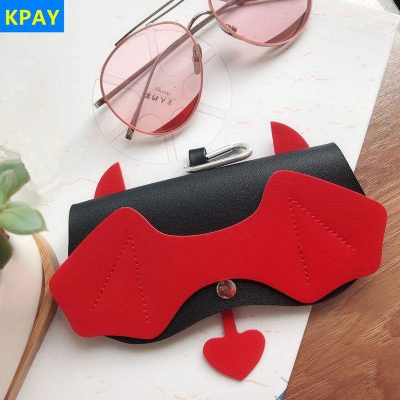 PU Leather Devil Eyeglasses Case Ins Popular Cute Cartoon Back To School Women Sunglasses Storage Protection Unique Glasses Bags