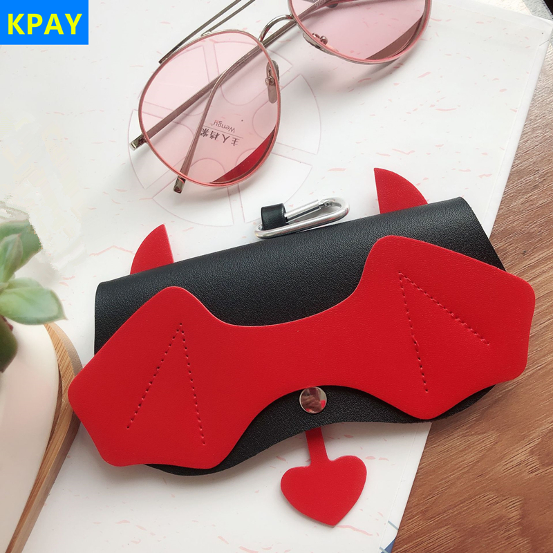 PU Leather Devil Eyeglasses Case Ins Popular Cute Cartoon Women 2019 Sunglasses Storage Protection Unique Glasses Eyewear Bags in Eyewear Accessories from Apparel Accessories