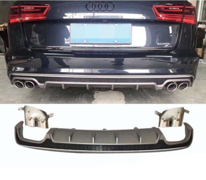A6 Avant ABS Car Rear Bumper Lip Spoiler Diffuser Rear Lip With Exhaust Tips For Audi A6 S6 (A6 Avant)C7.5 2016 2017 2018 image
