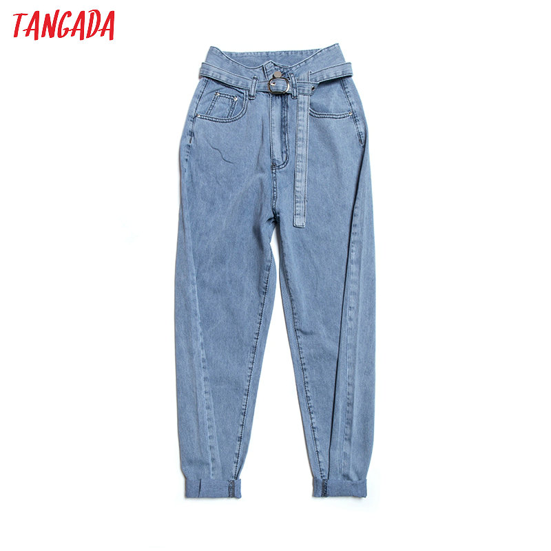 Tangada Fashion Women Loose Harm Jeans Pants High Waist With Belt Long Trousers Pockets Zipper High Street Female Pants 2A07