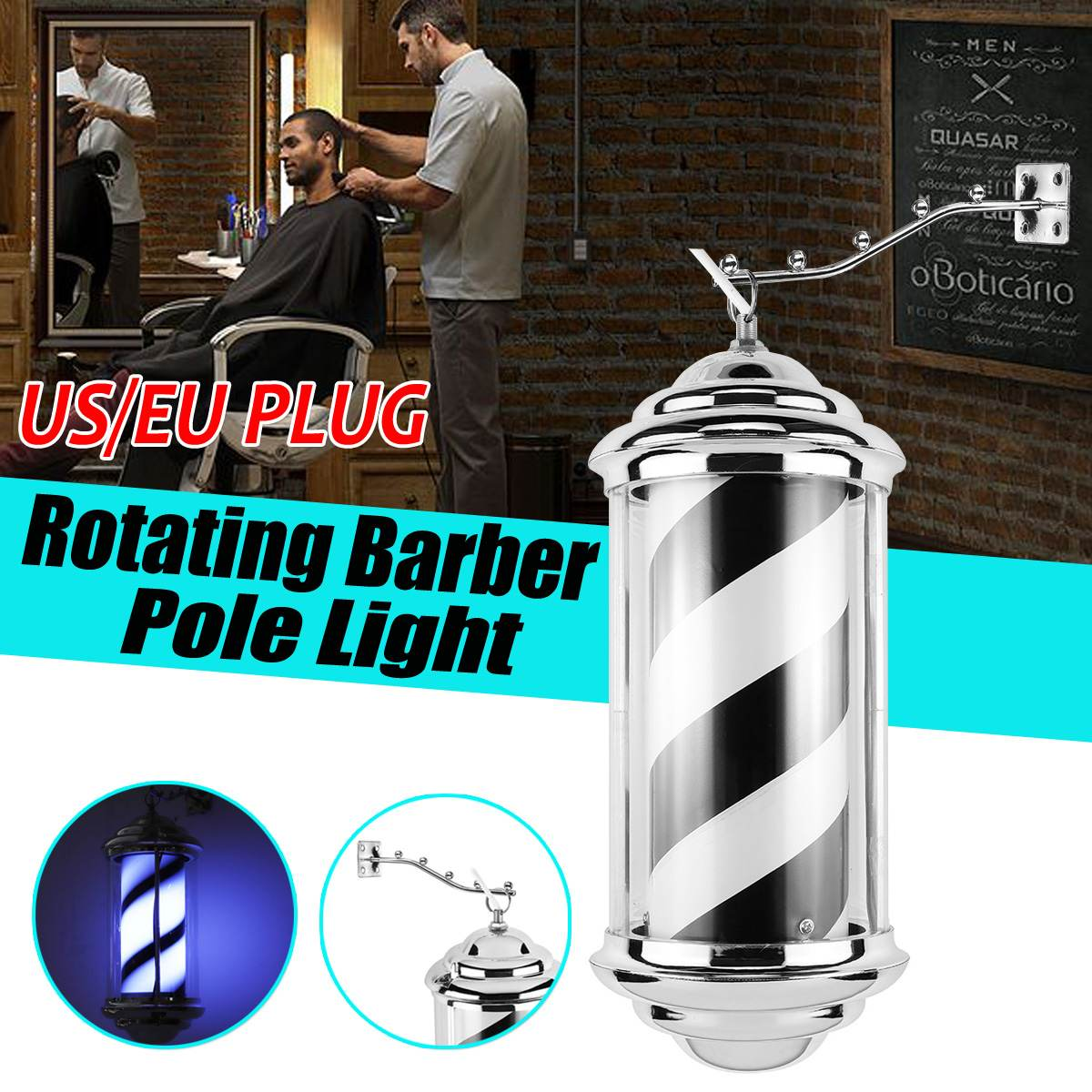 Hair Salon Light Barber Pole Led Light Rotating Light Lamp With Lifting Arm Marker Lamp LED Downlights 220V EU / 110V US Plug