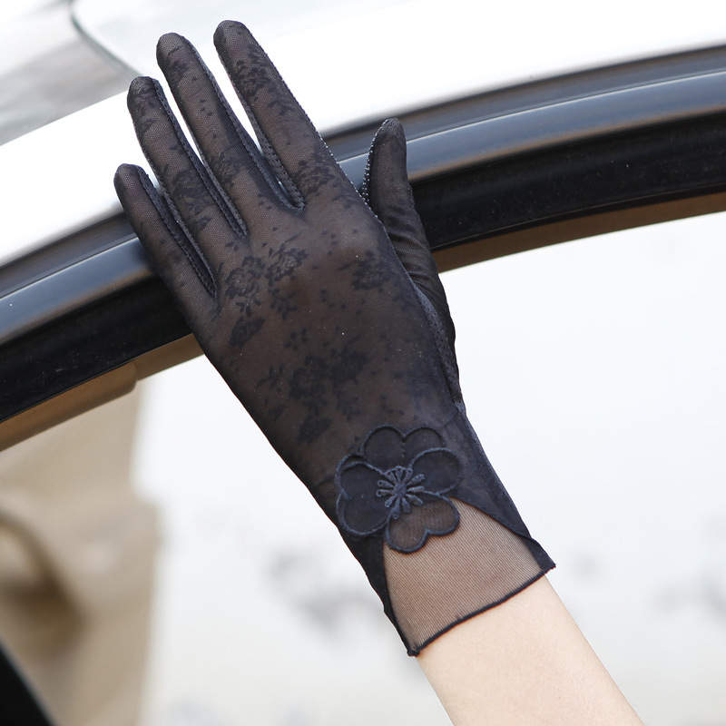 Coslony Sexy Spring Summer Women Autumn UV Sunscreen Short  Sun Gloves Fashion Ice Silk Lace Driving Of Thin Touch Screen Gloves