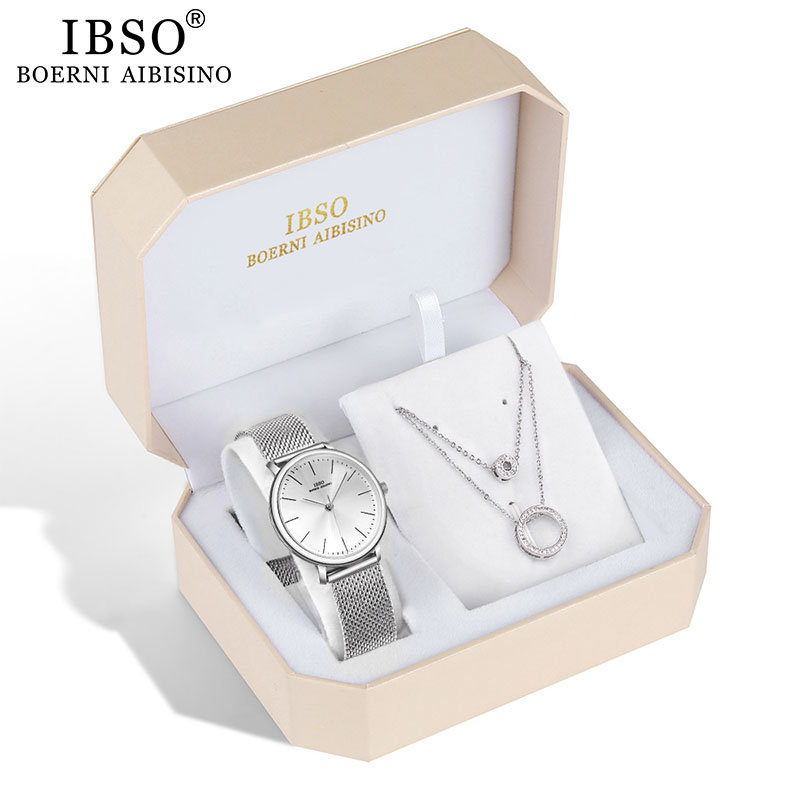 IBSO Brand Quartz Wristwatches Necklace Earring Combination Set Women Watch  Metal Strap Ladies Watches for Gift