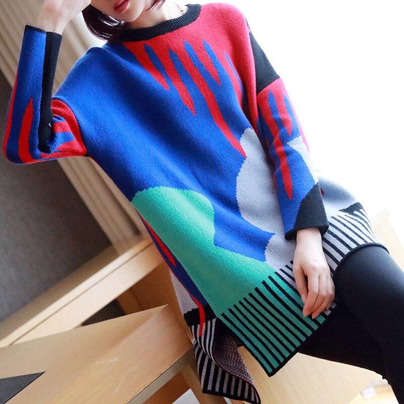 Ms. fashion пуловер большого размера, новинка зимы 2019, Женский Длинный свободный свитер с длинными рукавами