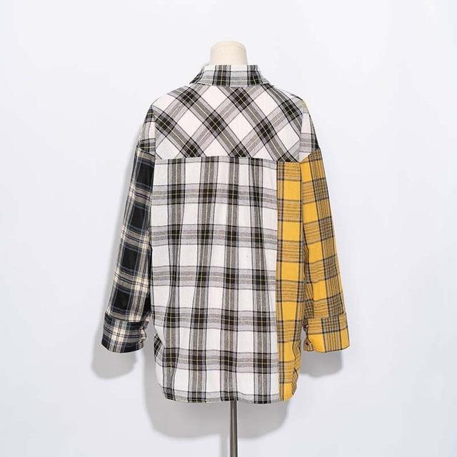 ALLKPOPER KPOP  Plaid Shirt Women Bangtan Boys SUGA Blouse Korea Fashion Plus Size Casual Spring Autumn Splice Shirts 2