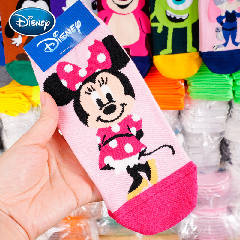 Disney 1Pair Cartoon Minnie Mickey Cotton Socks New Fashion Women Soft Cotton Short Socks 35-40