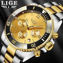 Lige мужские часы Топ бренд класса люкс Хронограф Золото Нержавеющая