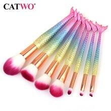 Catwo 7/10 adet Mermaid makyaj fırçalar göz farı vakfı pudra Eyeliner kirpik makyaj fırça kozmetik güzellik aracı Set sıcak