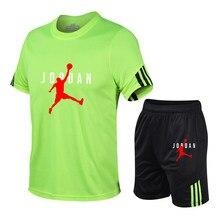 Jordan-23 terno esportivo masculino correndo terno ginásio verão duas peças de secagem rápida roupas gelo fino casual short manga curta verão