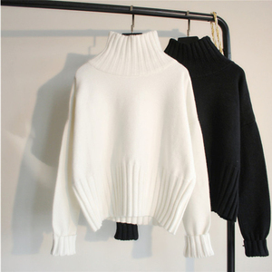 2020 autumn winter pullover loose languid lazy web celebrity sweater turtleneck small fresh sweet long sleeve blouse white short