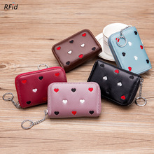 New Hearts Embroidered Women Coin Purse Genuine Leather Square Zipper Travel Organizer RFID Card Holder Small Wallet Clutch Bag new women wallet canvas coin purse travel organizer 8 color floral women storage bag day clutch card holders women purse h21