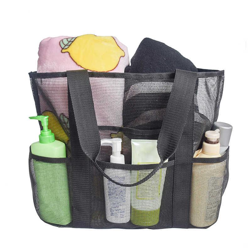 1X Plastic Mesh Beach Bags Women Mesh Beach Bag Swimming Cosmetic Pouch Summer Beach Portable For Girls