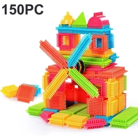 150pcs Bristle 모양 3D 빌딩 블록 장난감 타일 건설 Playboards 장난감 Souptoys 어린이를위한 교육 선물 손에