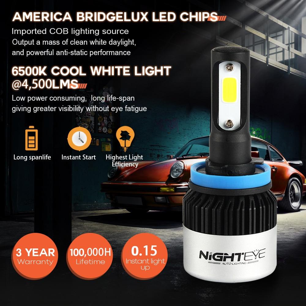 Image 2 - NIGHTEYE 2Pcs H4 LED H7 H11 H8  H9 9006 HB4 H1 9005 HB3 Car Headlight Bulbs LED Lamp with COB Chip 9000LM Auto Fog Lights 6500led h79006 hb4h11 h8 -