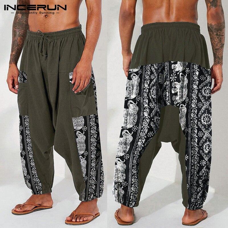 INCERUN Printed Men Harem Pants Vintage Cotton Joggers Drop Crotch Trousers Drawstring 2021 Loose Streetwear Casual Chic Pants 7