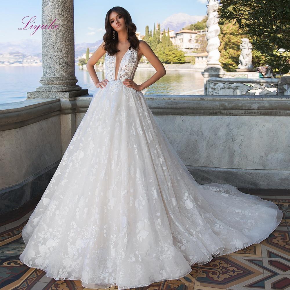 Liyuke 2019 New Ball Gown Wedding Dress Full Lace Appliques Deep V-neck Backless Customer Made Size Floor- Length